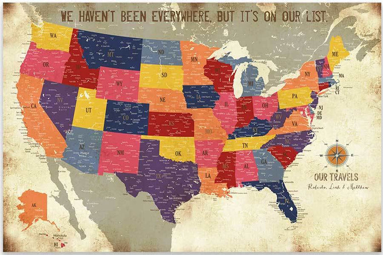 Detailed USA map, Colorful Distressed Style, Poster Map World Vibe Studio