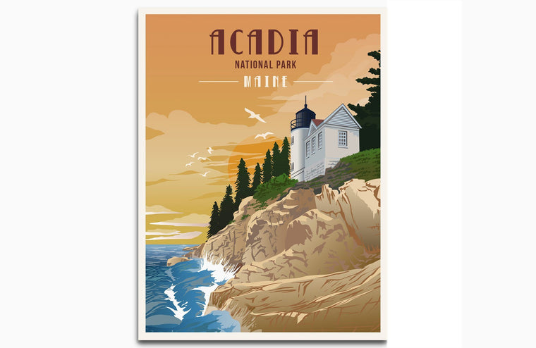 Acadia National Park, Maine, National Park Prints, Unframed Map World Vibe Studio