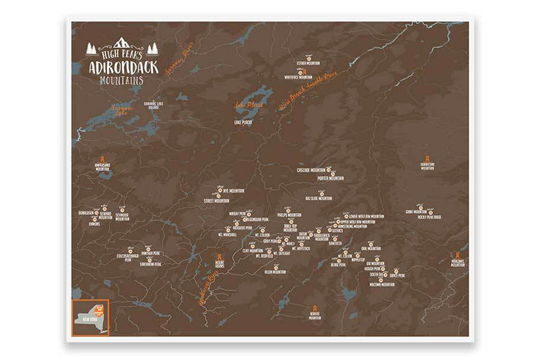 46 High Peaks of The Adirondacks Park Poster Map World Vibe Studio