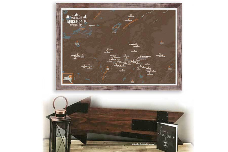Adirondacks 46 High Peaks, Framed Pin Map Map World Vibe Studio
