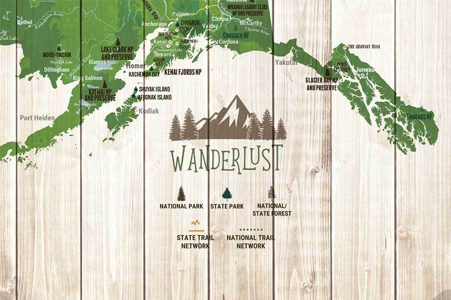 Alaska Map, State Park Map of Alaska, Canvas Map World Vibe Studio