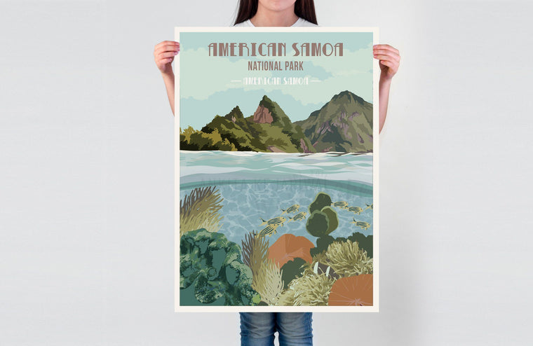 American Samoa National Park Poster, National Park Poster, National ParkWall Art, Unframed Map World Vibe Studio