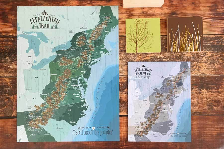 Appalachian Trail Map Poster, Color options available Map World Vibe Studio