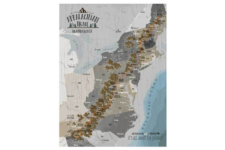 Appalachian Trail Map on Canvas, Push Pin Board, Track Your Adventures Map World Vibe Studio 12X16 Tan