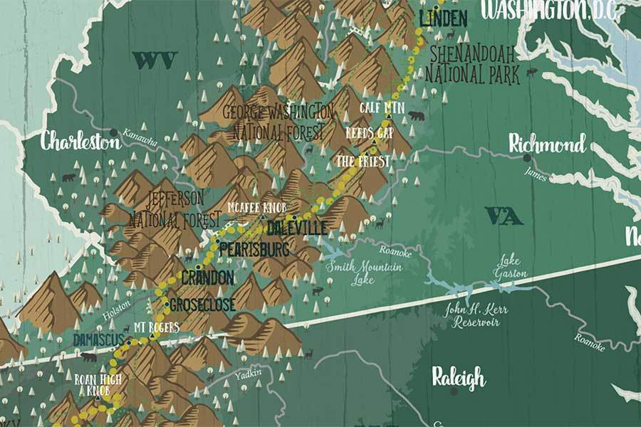 Appalachian Trail Map Poster, Color options available