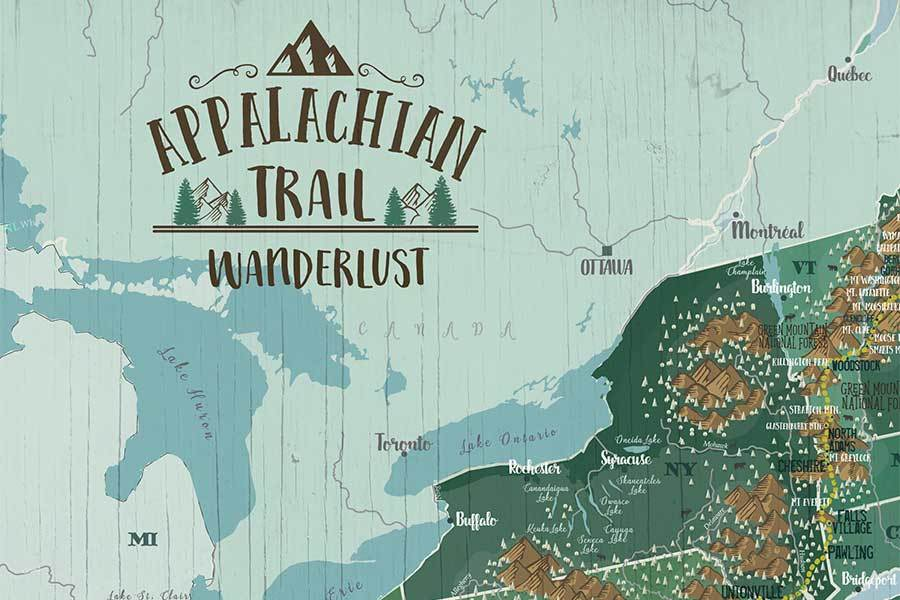 Appalachian Trail Map on Canvas, Push Pin Board, Track Your Adventures