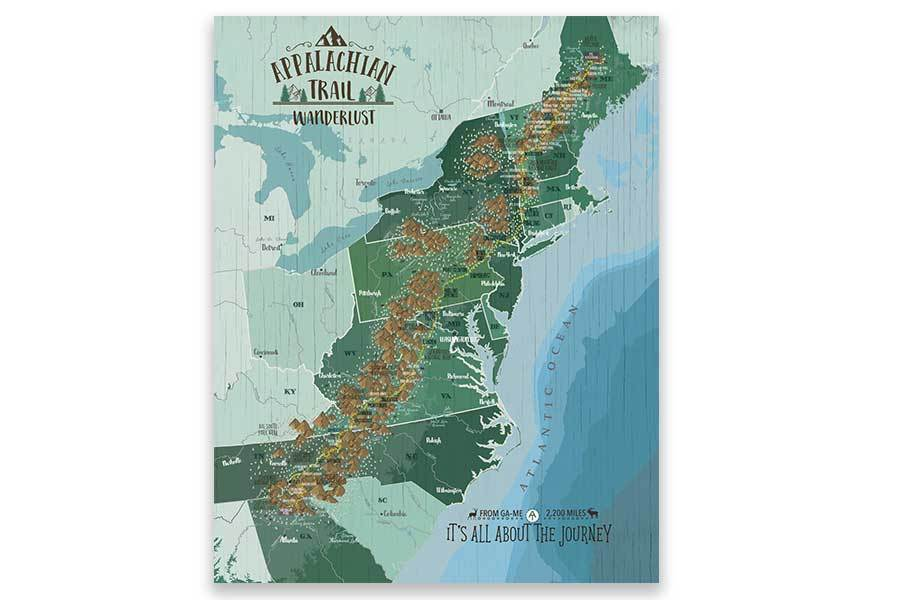 Appalachian Trail Map on Canvas, Push Pin Board, Track Your Adventures Map World Vibe Studio 12X16 Green
