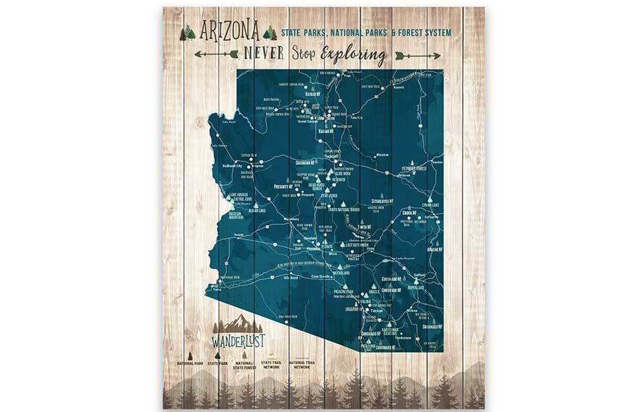 Arizona Map, State park Map, Hiking Gifts Map World Vibe Studio 12X16 Navy-Blue