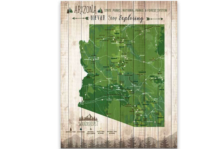 Arizona Map, State park Map, Hiking Gifts Map World Vibe Studio