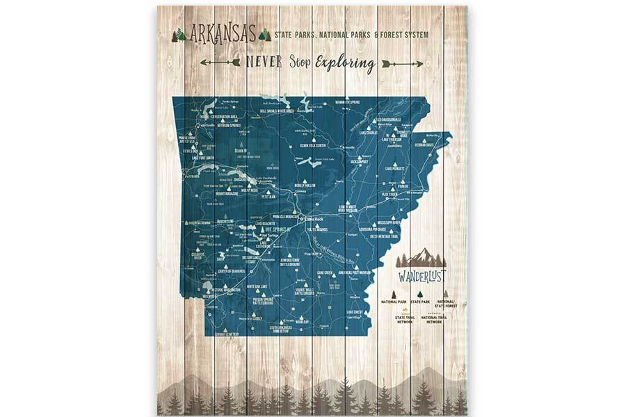 Arkansas Map, State park Map, Hiking Wall Decor Map World Vibe Studio 12X16 Navy-Blue