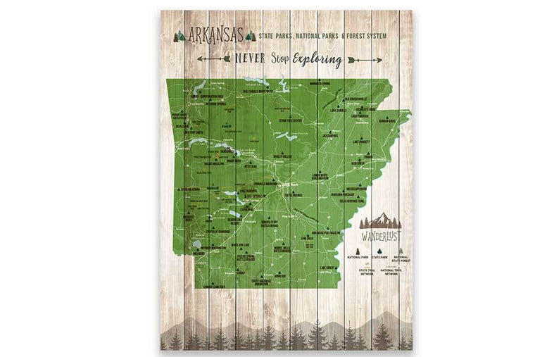 Arkansas Map, State park Map, Hiking Wall Decor Map World Vibe Studio 12X16 Green