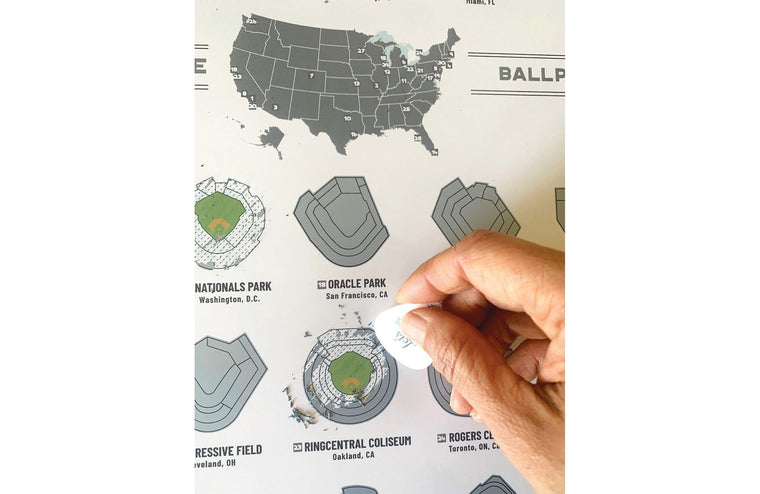 Baseball Park Scratch off Map, Major League 30, 12X18 Inches Poster, Includes Scratcher Map World Vibe Studio