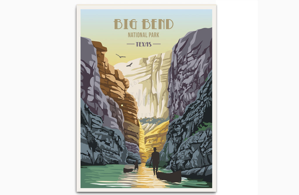 Big Bend National Park, Texas, National Park Poster, Unframed Map World Vibe Studio 8X10