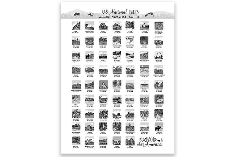 Black and White Icons, National Park Checklist Map World Vibe Studio