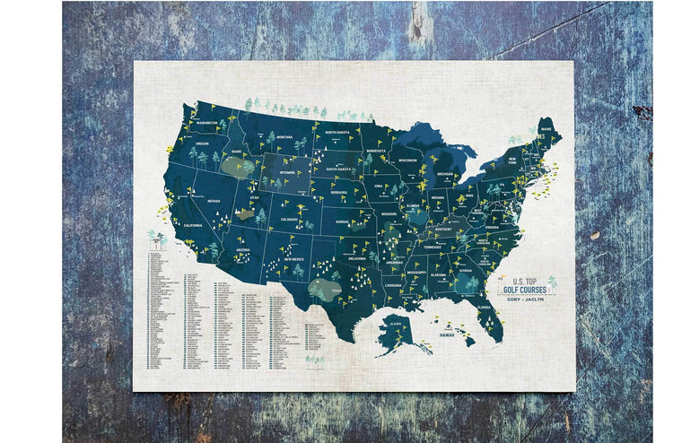 Golf Course Map of USA, Navy Map Poster, Push Pin Option Map World Vibe Studio