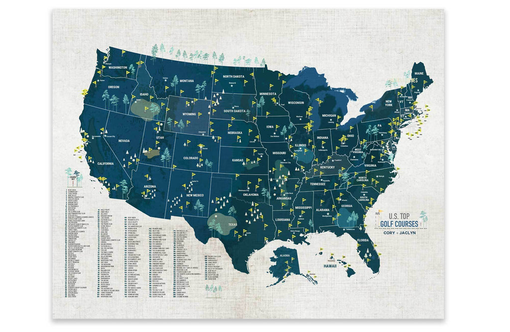 Golf Courses of USA, Canvas, Push Pin Board Map World Vibe Studio