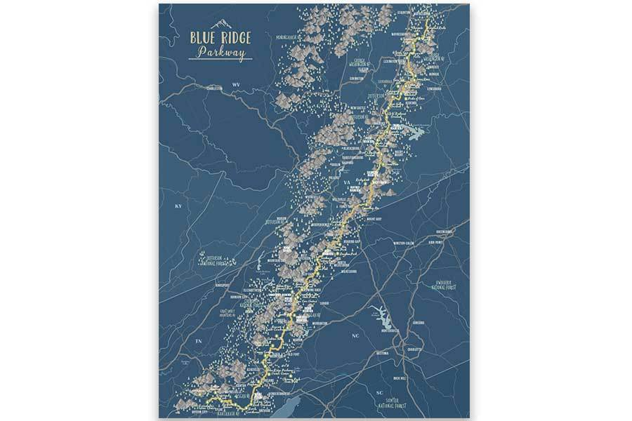 Blue Ridge Mountains Parkway, Framed Push Pin Map Map World Vibe Studio 16X24 deep-blue-br