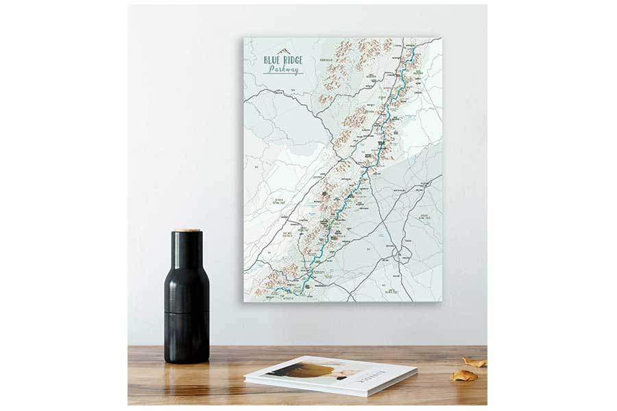 Blue Ridge Parkway Map, Canvas, Push Pin Board Map World Vibe Studio