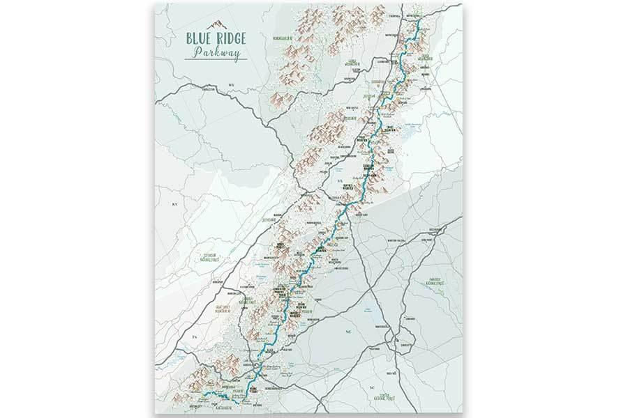 Blue Ridge Parkway Map Poster Map World Vibe Studio 12X16 light-blue-br