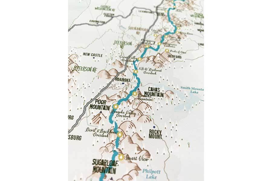 Blue Ridge Parkway Map Poster Map World Vibe Studio