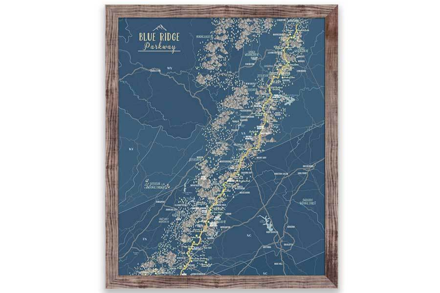 Blue Ridge Mountains Parkway, Framed Push Pin Map Map World Vibe Studio