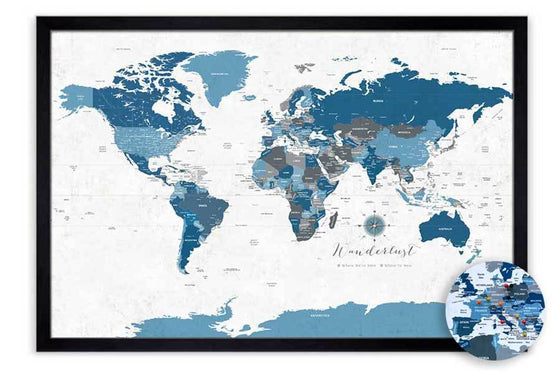 Rustic Blue Gray World Map, Framed for Push Pins Map World Vibe Studio