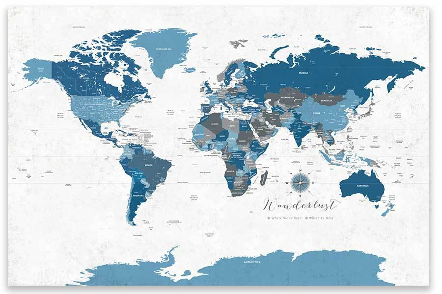 Rustic Blue Gray World Map, Unframed Poster Map World Vibe Studio