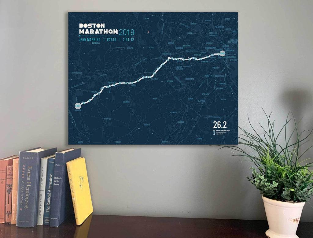 Boston Marathon Map Canvas, Many Sizes Map World Vibe Studio