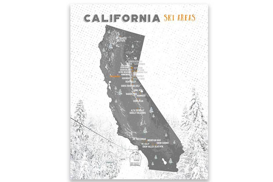 California Ski Map, Wall Art Poster Map World Vibe Studio 11X14 Grays