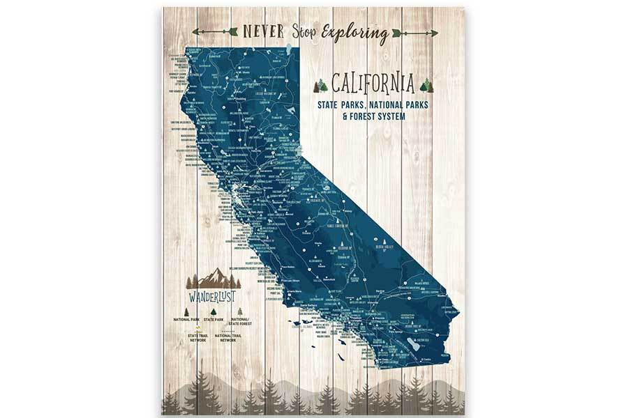 California State Park Map, Wall Art Map World Vibe Studio 12X16 Navy-Blue