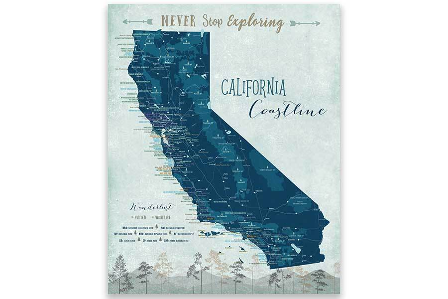 California Coast Line Map, Wall Art Map World Vibe Studio