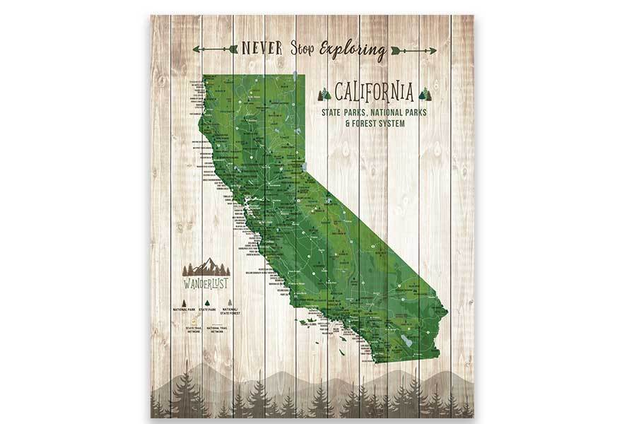 California State Park Map, Wall Art