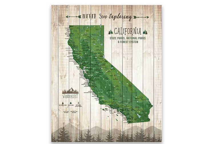 California State Park Map, Wall Art Map World Vibe Studio 12X16 Green