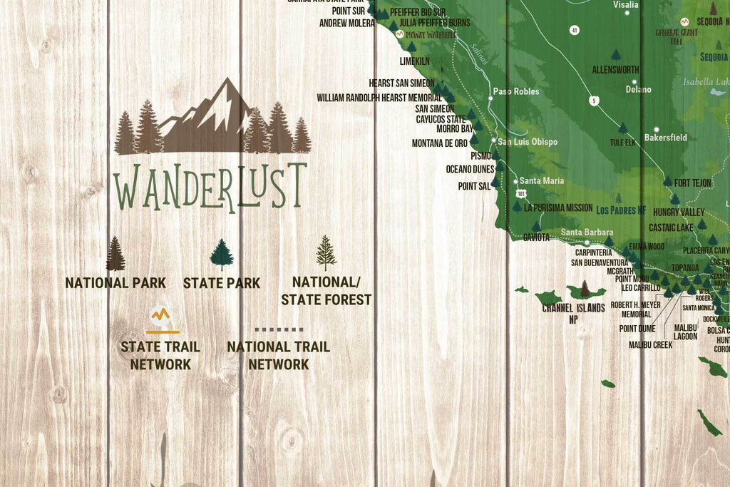 Map Of California State Parks.California State Park Map Wall Art
