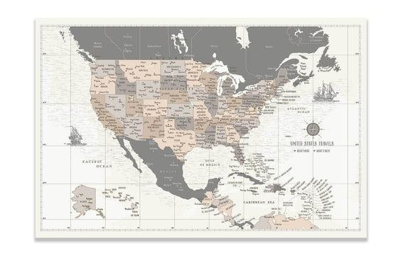 US Travel Map, Push Pin Travel Map, North America Map Map World Vibe Studio
