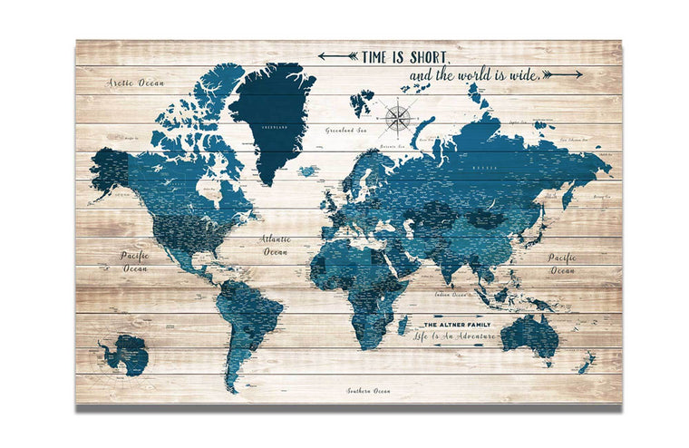 World Map Wall Art Canvas, Rustic Blue, Push Pin Map Map World Vibe Studio