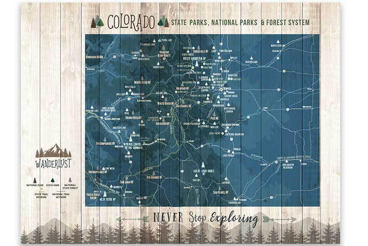 Colorado State Park Map with Forests and Trails, Canvas Map World Vibe Studio 12X16 Navy-Blue