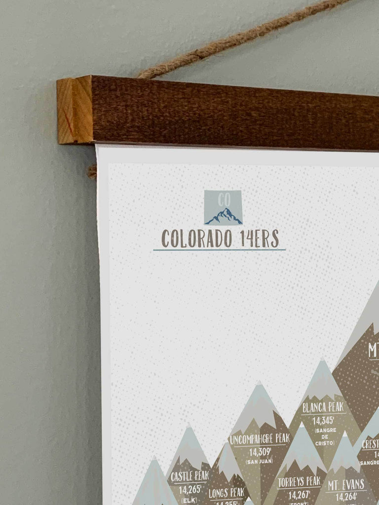 Colorado 14er Wall Hanging Canvas, Wooden rails included Map World Vibe Studio