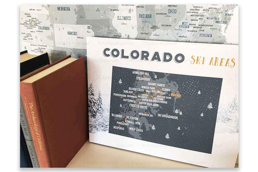 Colorado Ski map, Wall art Print Map World Vibe Studio