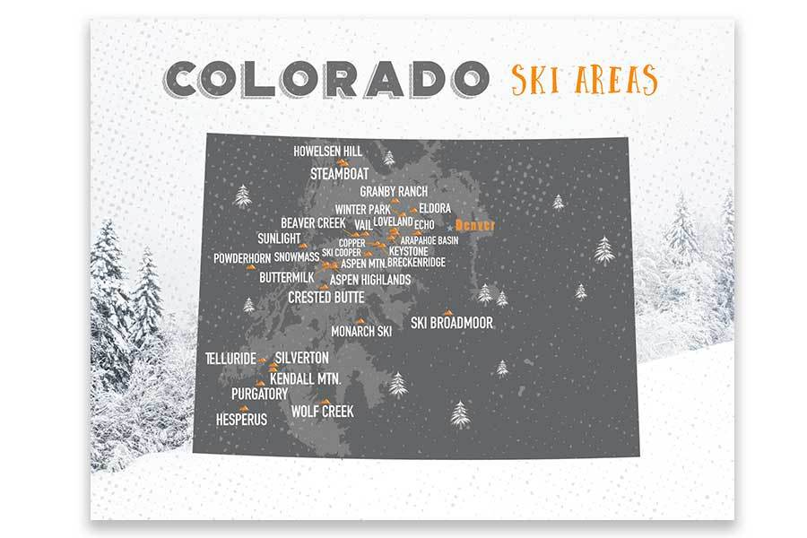 Colorado Ski map, Wall art Print Map World Vibe Studio 11X14 Gray