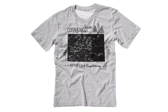 Colorado State Parks T-shirt, Unisex Map World Vibe Studio