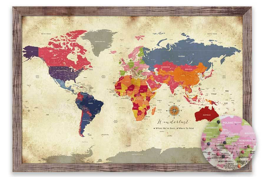 Colorful Vintage Style World Map, Push Pin Framed Map World Vibe Studio