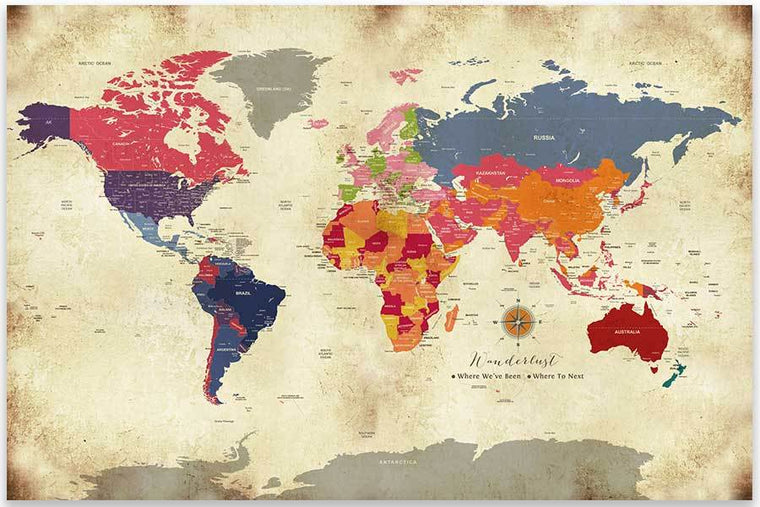 Poster Of World Map, Colorful Vintage Style Map World Vibe Studio