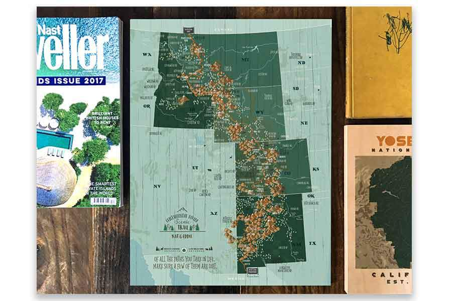 Framed, Push Pin Map, Continental Divide Scenic Trail Map World Vibe Studio