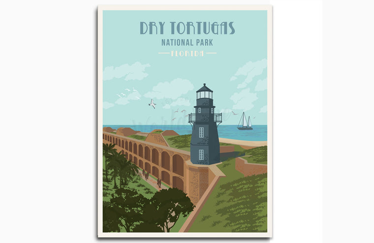 Dry Tortugas National Park, Florida, National Park Prints, Unframed Map World Vibe Studio 8X10