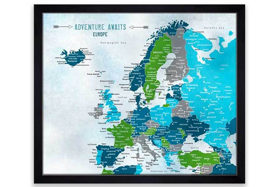 Europe Decor, Poster, Green and Teal Map World Vibe Studio