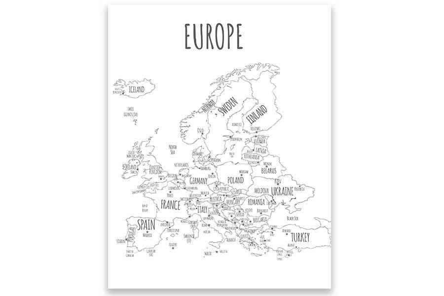 Push Pin Europe Map, Stand out Mount Map World Vibe Studio
