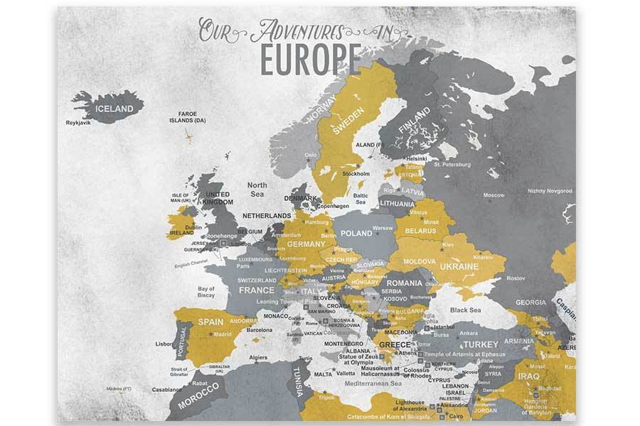 Europe Map, Poster Map World Vibe Studio