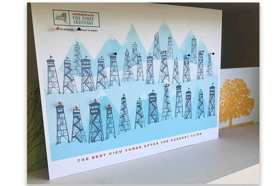 Fire Tower of Adirondacks, Foam Mounted, Includes Pins Map World Vibe Studio