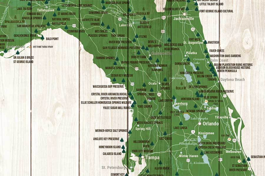 Map State Of Florida.Map Of Florida State Parks Canvas Push Pin Board